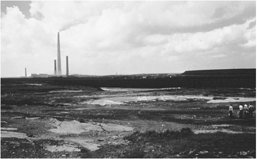 The area around Sudbury, Ontario, was deforested by emissions from nickel and copper smelting. (Photograph by A. J. Copley. Visuals Unlimited. Reproduced by permission.)