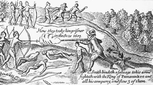 1607 illustration depicting the capture of Captain John Smith by Native Americans.
