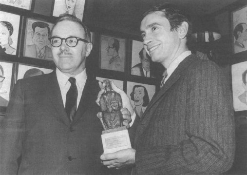 Albee receiving the Evening Standard Drama Award for Best Play of 1964, for Who's Afraid of Virginia Woolf?