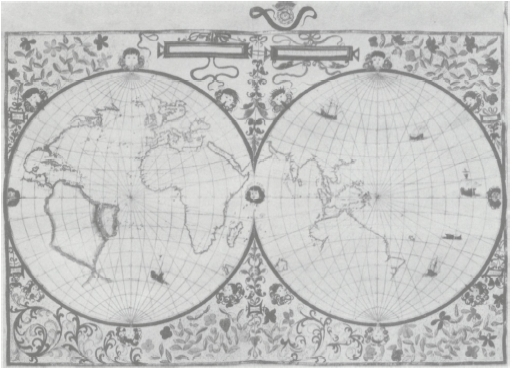 A map of the world, from the atlas made by John Rotz for Henry VIII, 1542.