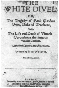 Title page of the 1612 edition of The White Devil.