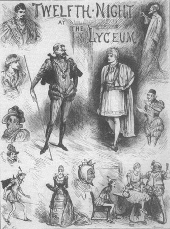 Sketch of Henry Irving as Maholio and Twelfth Night's supporting cast in Irving's 1884 production.