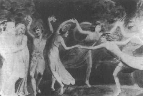 Oberon, Titania, and Puck with Fairies Dancing: watercolor by William Blake, c. 1785-87.